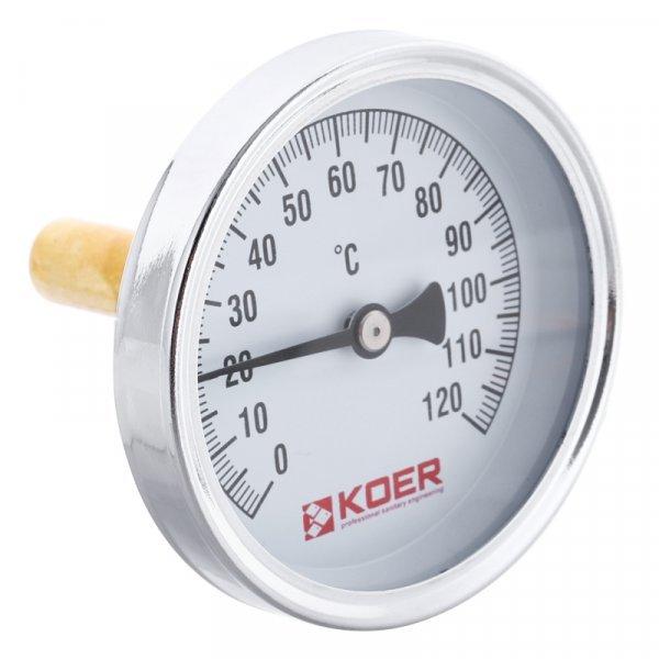 Термометр аксиальный с погружной гильзой KOER KT.671A D=63мм 1-2'' (KR2899) Картинка KR2899