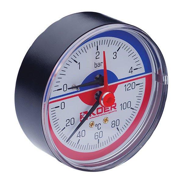 Термо-манометр аксиальный (KOER KM.802A) (0-4 bar), D=80мм, 1-2'' (KR0222) Картинка KR0222