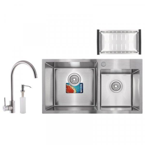 Набор MIXXUS SET-7843D-220x1.0-SATIN (мойка+смеситель+диспенсер+сушка для посуды) (MX0583) Картинка MX0583