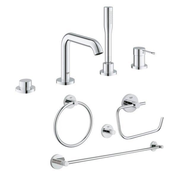 Комплект Grohe смеситель для ванны Essence 19578001 + набор аксессуаров Essentials 40823001 Картинка 38642