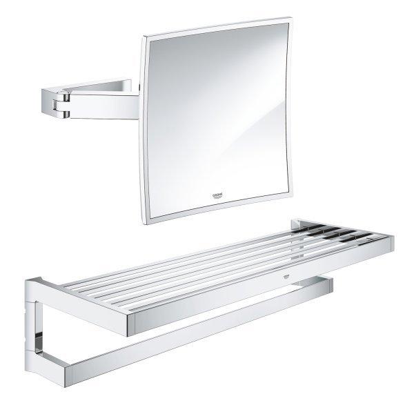 Набор аксессуаров Grohe EX Selection Cube 40804000 полка для полотенец + Grohe EX Selection Cube 40808000 зеркало косметическое Картинка 38651