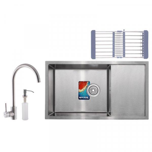 Набор MIXXUS SET-7844-200x1.0-SATIN (мойка+смеситель+диспенсер+сушка для посуды) (MX0582) Картинка MX0582