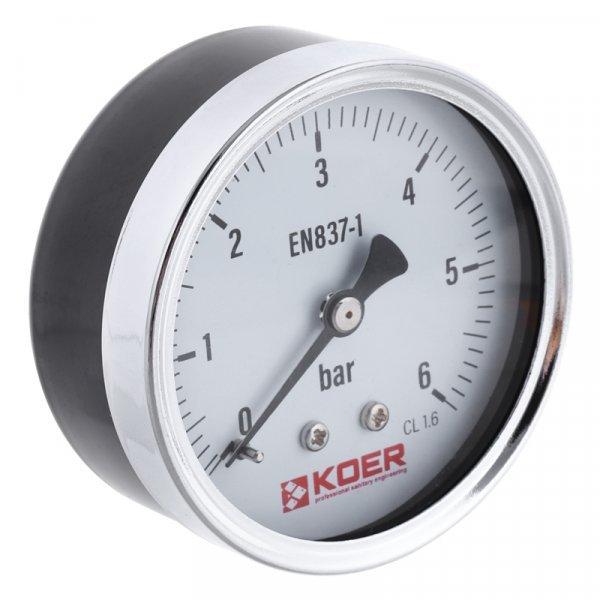 Манометр аксиальный KOER KM.611A D=63мм (0-6 bar) 1-4'' (KR2901) Картинка KR2901