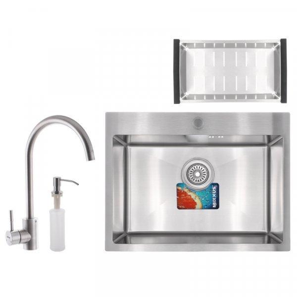 Набор MIXXUS SET-6045-200x1.0-SATIN (мойка+смеситель+диспенсер+сушка для посуды) (MX0584) Картинка MX0584