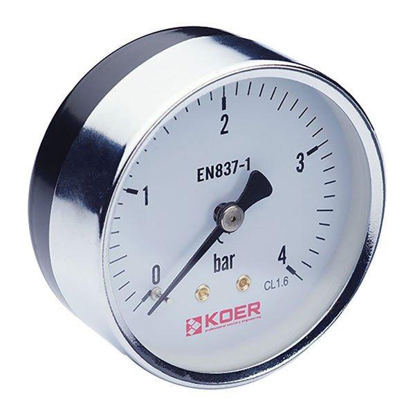 Манометр аксиальный (KOER KM.611A) (0-4 bar), D=63мм, 1-4'' (KR0210) Картинка KR0210