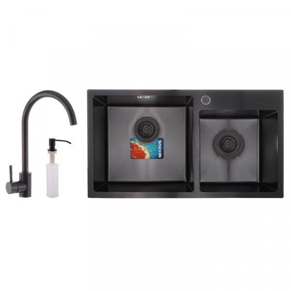 Набор MIXXUS SET-7843D-220x1.0-PVD (мойка+смеситель+диспенсер) (MX0585) Картинка MX0585